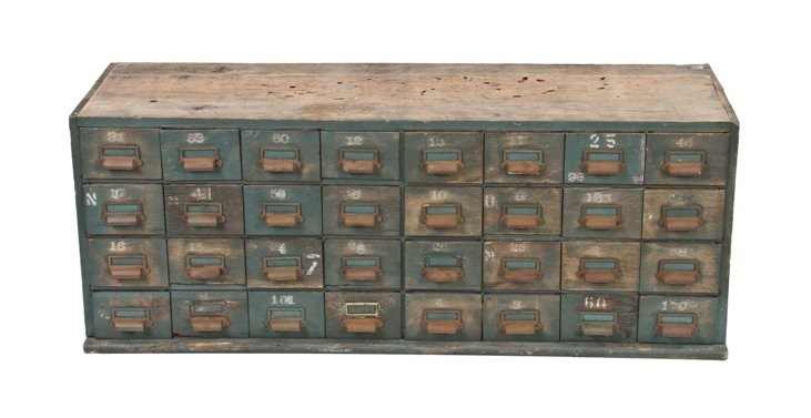 """c. 1920's custom-built reinforced painted oak wood locomotive mechanic multi-drawer """"small parts"""" cabinet with cast iron pulls - chicago railroad roundhouse.  Measures 50 x 15 1/2 x 19 inches.: Oak Wood, Wood Locomotive"""