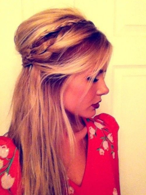 Half updo, bumped up with big and little braid