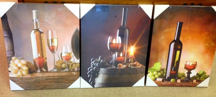 Gallery wrapped LED lighted canvas wall art. Wine inspired pictures. Battery operated. Middle picture is lite. #carolescollections #wine