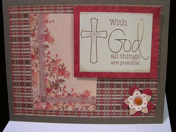 WITH GOD All Things Are Possible  Christian Greeting Card