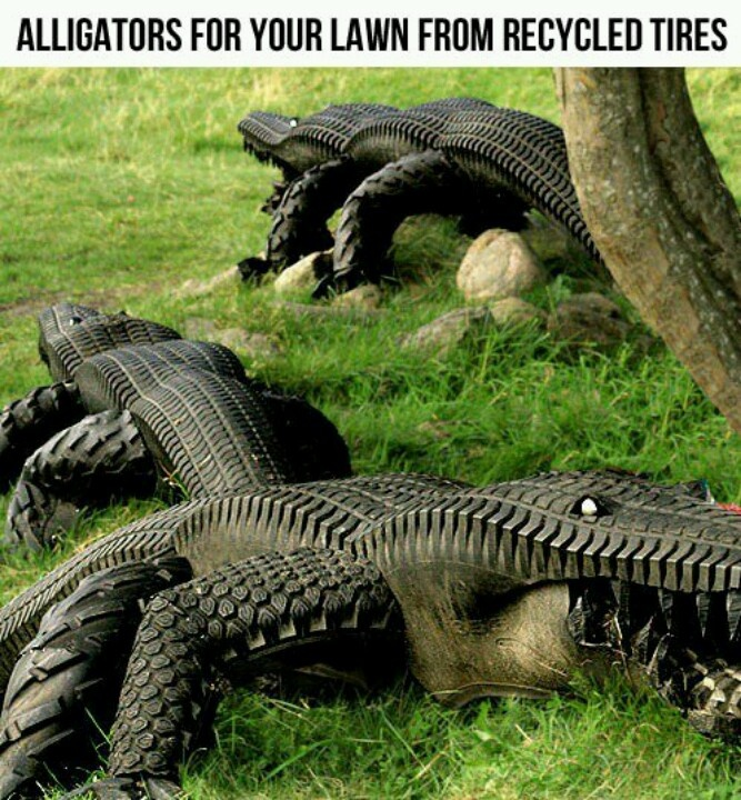 Alligators made from recycled tires by Swedish artist Eric Langert.