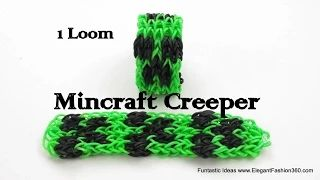 rainbow loom minecraft bracelet - YouTube