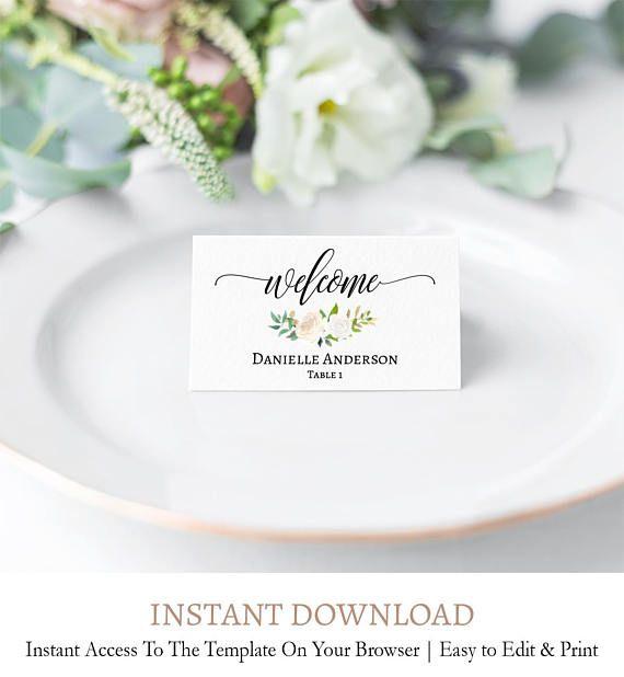 Editable Table Card Template Custom Place Cards White And Etsy Wedding Place Cards Wedding Place Card Templates Place Card Template