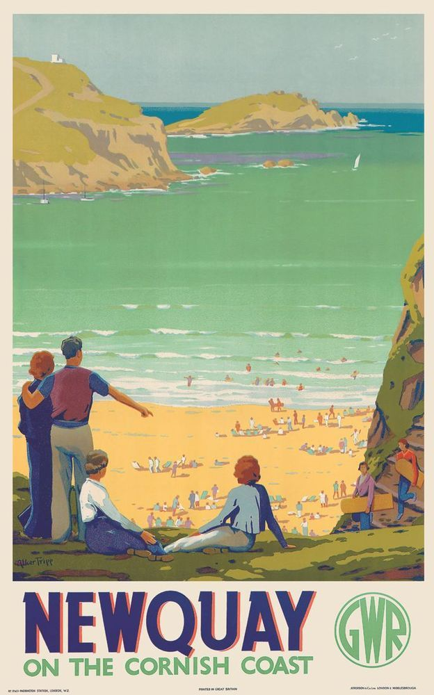 Newquay – Turquoise Ocean This 1930's GWR Poster shows Tolcarne Beach which is north of Newquay's most popular beach – Fistral . Tolcarne is a crescent shaped beach backed by steep cliffs and on some summer days , the water really is this colour ! Artwork by Alker Tripp.17
