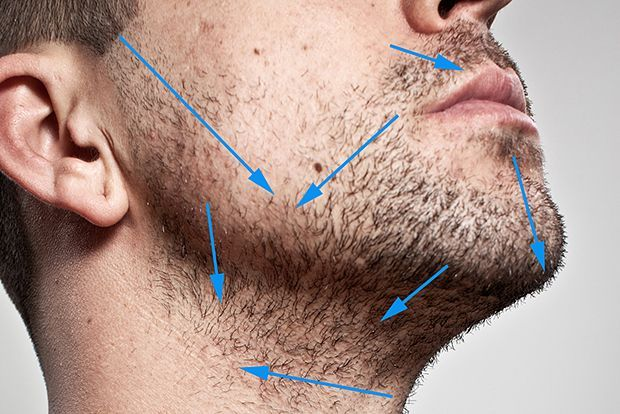 STEP 2 / INSPECTION OF HAIR GROWTH DIRECTION Give yourself a few days without shaving to properly inspect the direction of your hair growth – inspect closely and try to remember where the direction changes. In order to reduce razor burn and ingrown hairs, it's always best to shave in the direction of the hair growth. While this may not provide the closest shave, it will be far more comfortable and irritation free.