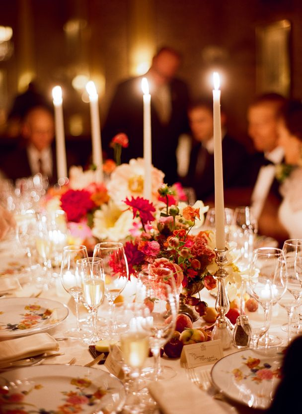 Elegant dinner party long thin tapers in silver