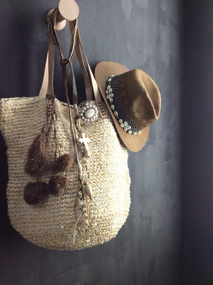 Sac pompons chapeau Hipanema coquillages