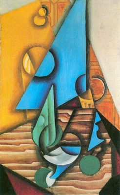 Bottle and glass on a table by Juan Gris. Order from DEKORAMI as a poster, canvas print, mural. Zamów jako obraz na płótnie, plakat lub fototapetę na DEKORAMI.pl.