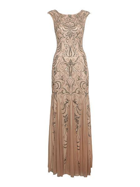 Cap sleeve beaded dress