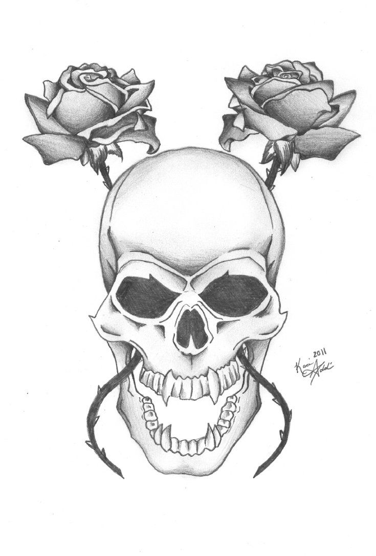 Pencil Drawings Of Skulls And Roses Big Tattoo Planet Community
