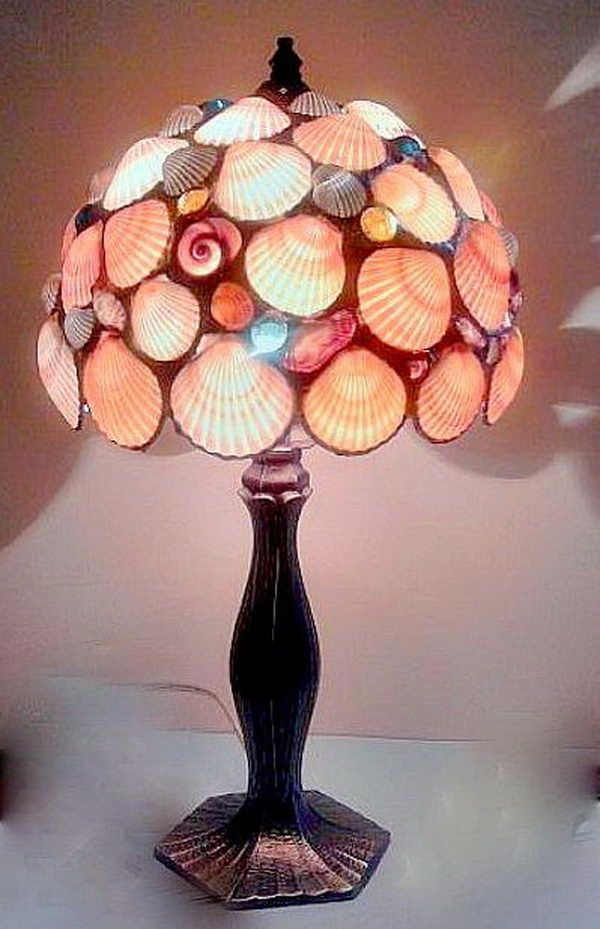 Seashell Lamp, Cool Seashell Project Ideas, http://hative.com/cool-seashell-project-ideas/,