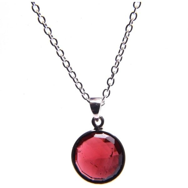 Puck Wanderlust - Silver January Birthday Charm Necklace - Garnet ($105) ❤ liked on Polyvore featuring jewelry, necklaces, silver necklace, red pendant necklace, red necklace, layered necklace and long silver necklace