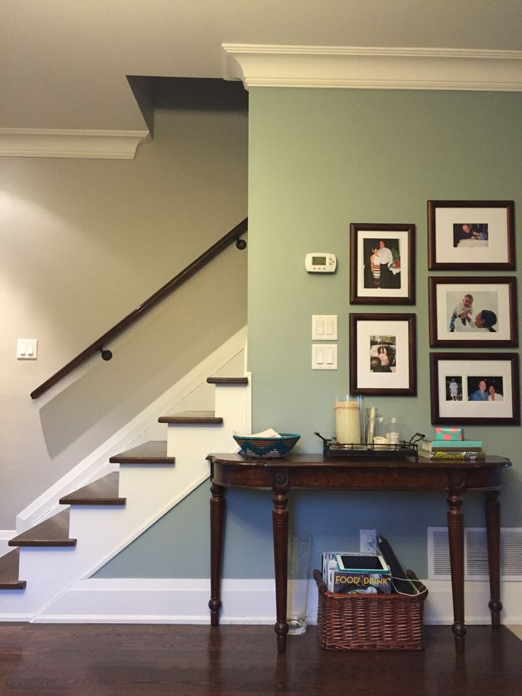 Benjamin moore revere pewter w raindance accent wall for What is accent color