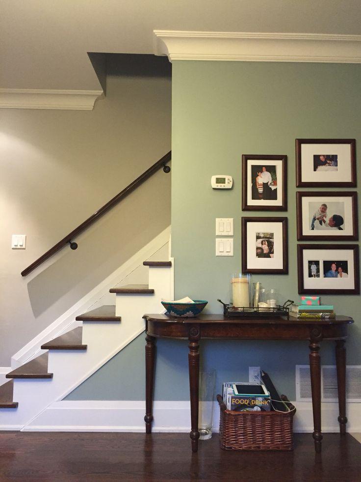 Benjamin Moore Revere Pewter w/Raindance accent wall; Acadia White trim/ceiling