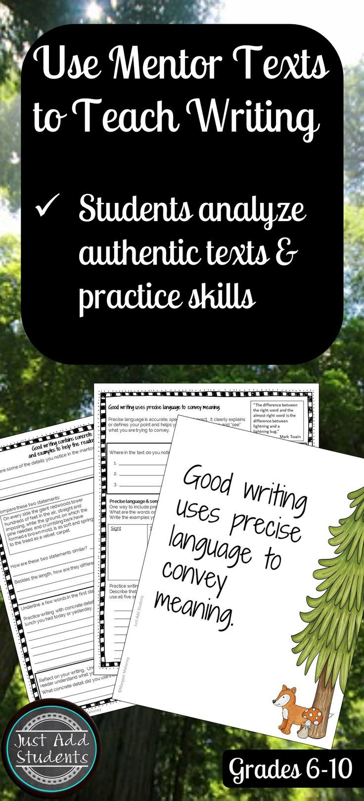 Use mentor texts to help your students analyze the elements of good writing -- and then practice it in their own texts.  Ready to print and use resource!