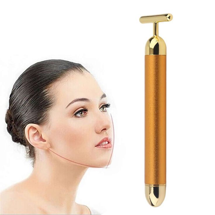 24K Gold Plated Women Electric Thin Face Massager Waterproof Eliminate Dark Circles Fade Wrinkles Face Beauty Instrument New