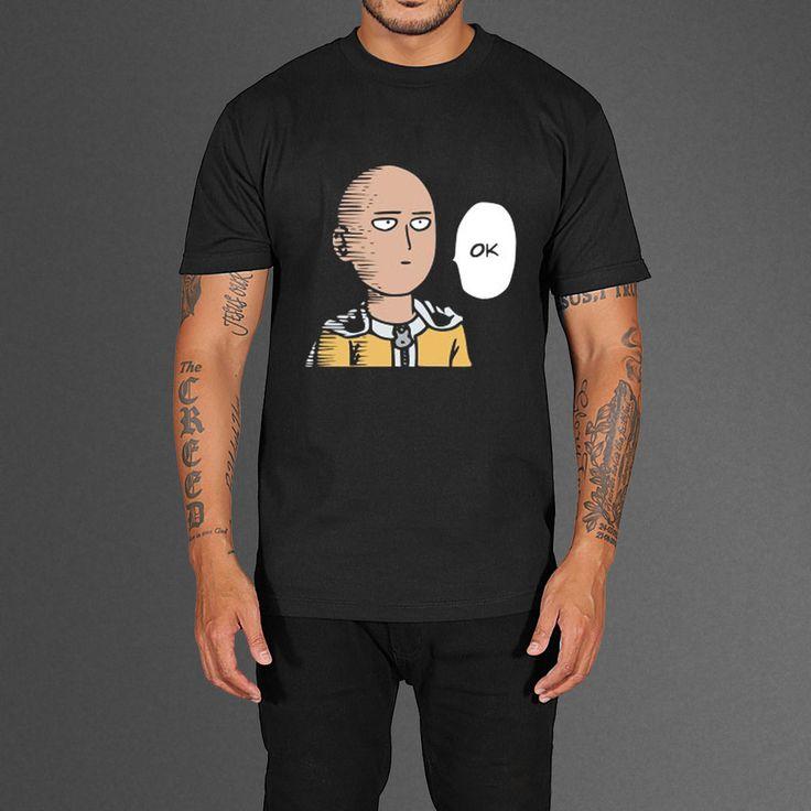 Saitama Training Outfit One Punch Man OK Saitama Anime Series Black T-Shirt Size S ...