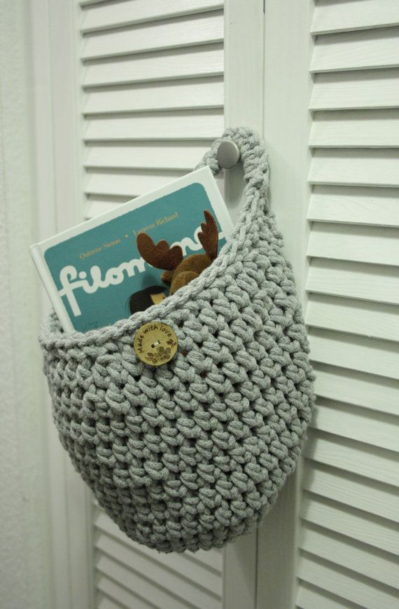 Hanging cotton basket by CreamKnit on Etsy