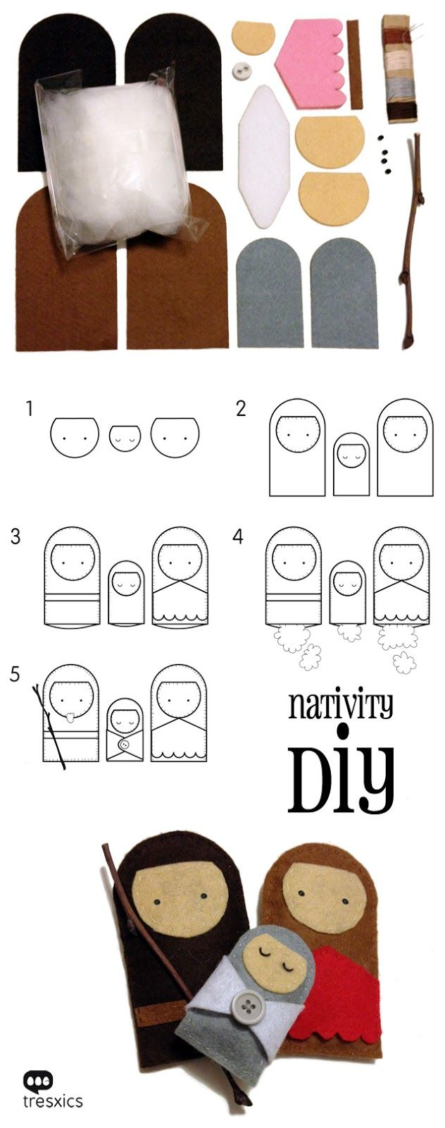 Holy Family Christmas. Felt Nativity Mary, Joseph & Jesus. Kid Crafts. diy kit tresxics