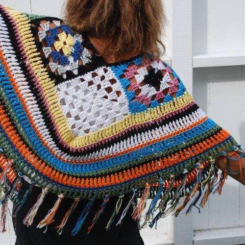 Crochet scrap yarn poncho