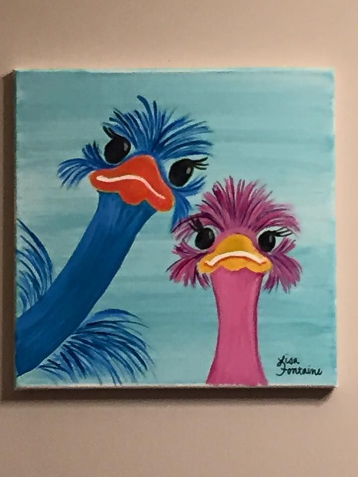 Acrylic painting on canvas by lisa fontaine ostriches for Cool art canvas ideas