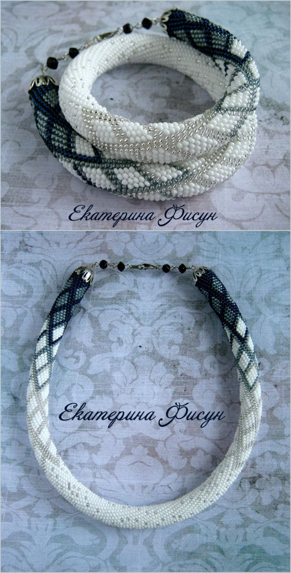 White blue necklace Seed bead necklace Bead by HandMadeInUa