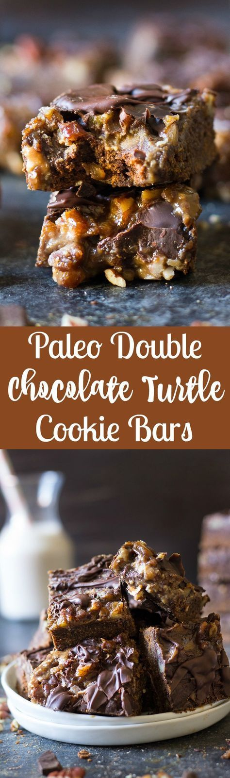 Gooey and delicious Paleo double chocolate turtle bars with a chocolate cookie crust, dairy free caramel pecan layer and melted chocolate topping.