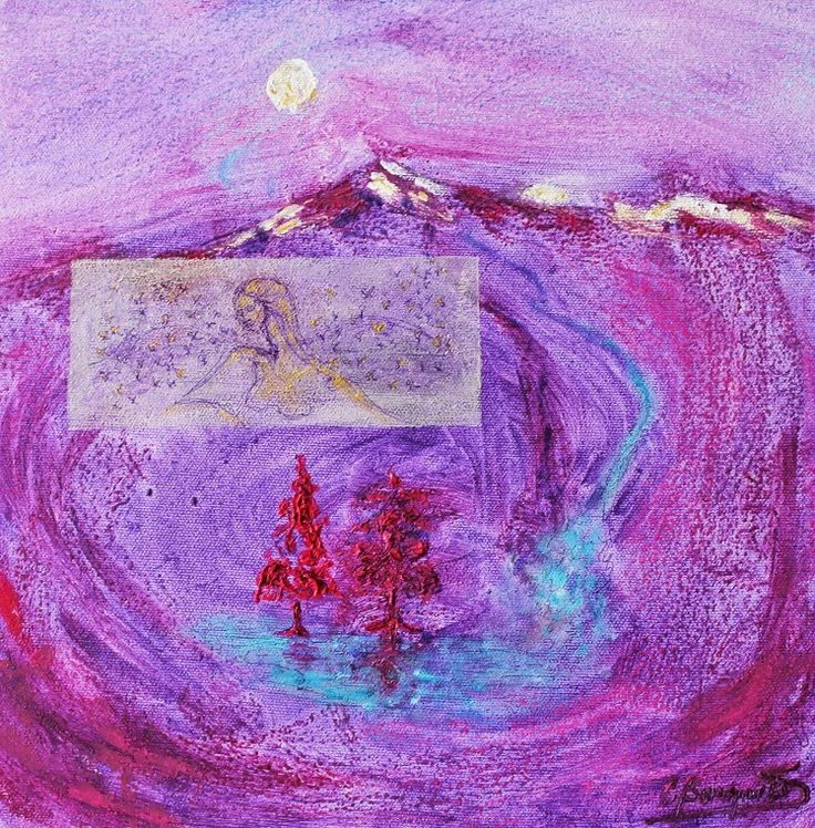 Montaña Violeta II, técnica mixta s/tela 30 x 30 cms. @copyright Carolina Busquets. Exposición En Tonos de Violeta del colectivo MuArt.