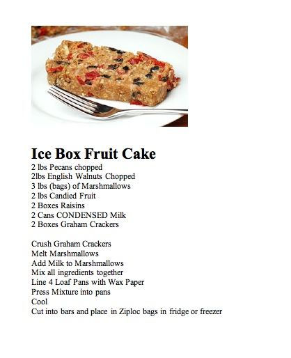 Ice Box Fruit Cake...this is my all time favorite. If you haven't tried it you should