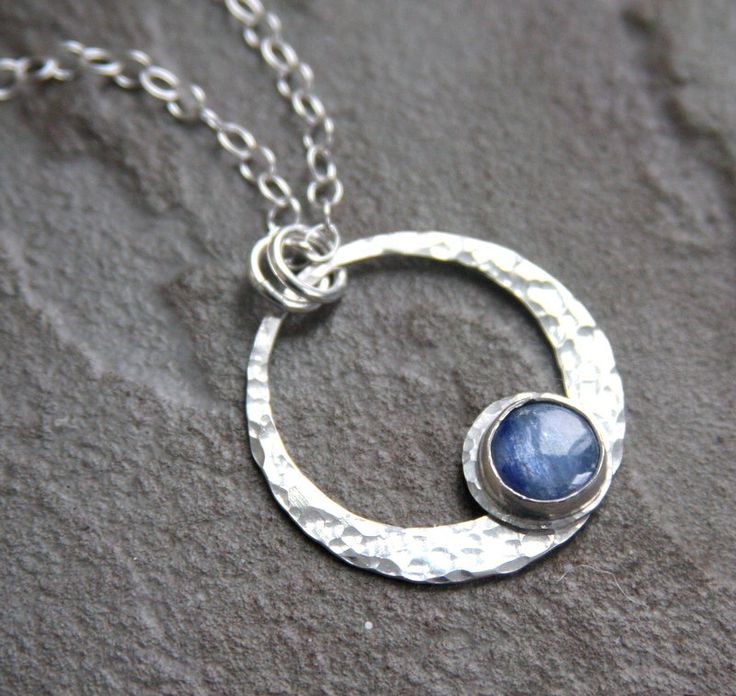 Kyanite pendant necklace, sterling silver necklace, bezel set, kyanite, gemstone necklace, necklace,  blue, hammered texture by HollyMackDesigns on Etsy https://www.etsy.com/listing/264986323/kyanite-pendant-necklace-sterling-silver