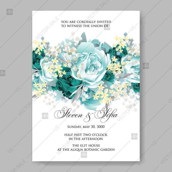 Vintage Wedding Invitation Vector Card Template Mint Green