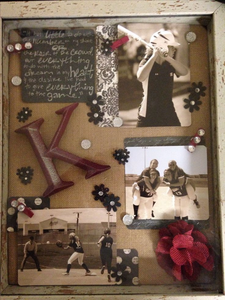 Made these for senior gifts. Softball shadow boxes. Handmade pins and spray painted letters in school color crimson. Sepia pictures and individualized quotes to top off the vintage-like look. LOVE how they turned out!