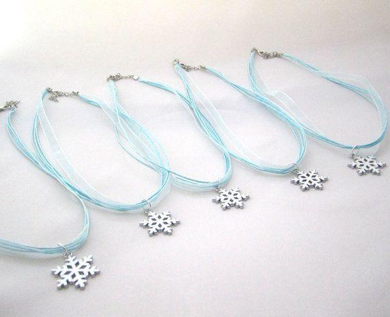 Set of 5 Snowflake Necklace Favors- Frozen Party Favors
