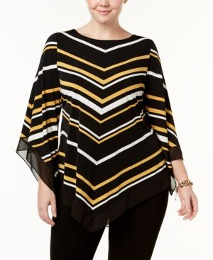 Alfani Plus Size Chevron-Stripe Chiffon-Trim Tunic, Created for Macy's - Yellow 2X