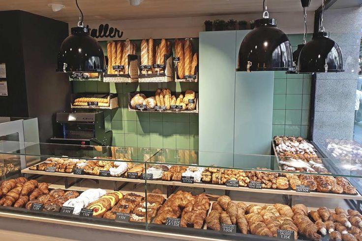 Mostrador de bollería y panadería. Franquicia El Taller (Barrio de Gràcia Barcelona). #cafetería #panadería #mostradores #interiorismo #interiordesign