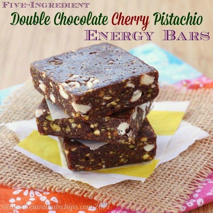Five-Ingredient Double Chocolate Cherry Pistachio Energy Bars {copycat Lara Bars}