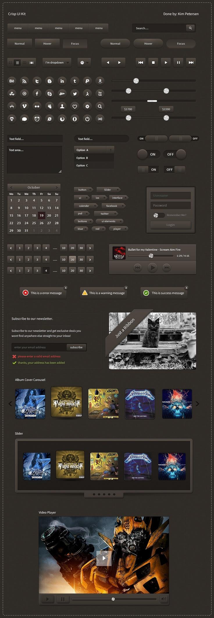Crisp-ui-kit by ~slayerD1 on deviantART #webdesign