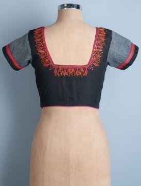 Black-Orange Embroidered Cotton Blouse by Svasa