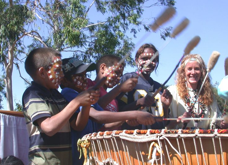 White Eagle and Arrente children in Alice Springs Australia with Grandmother Drum.