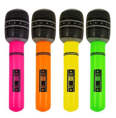 """4 INFLATABLE BLOW UP MICROPHONE 40cm 16"""" ROCK POP HEN PARTY FANCY DRESS BIRTHDAY in Toys & Games, Outdoor Toys & Activities, Bouncy Castles & Inflatables 