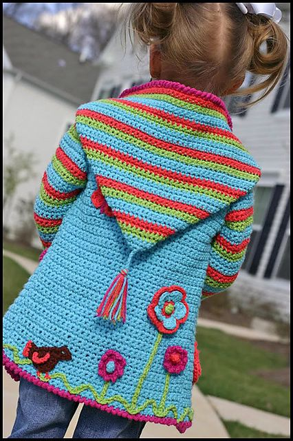 Ravelry: Crochet Springtime Friends Hoodie pattern 4 sale by Anji Beane--I like the idea of putting 'stuff' on a plain crochet top, coat, vest, etc.