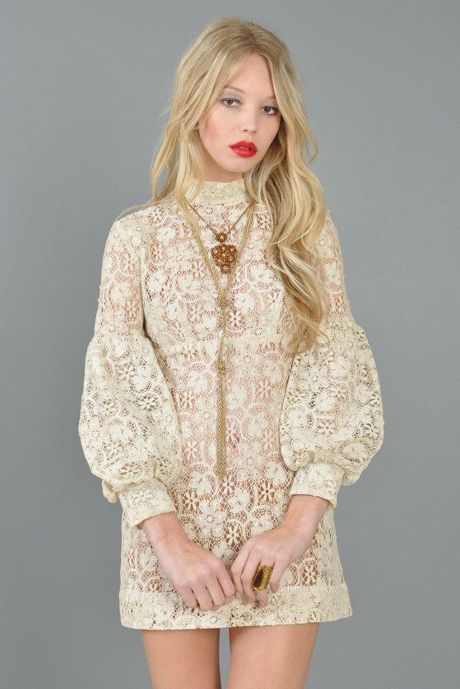 Sheer Crocheted 1960s Bishop-Sleeved Mini Dress | BUSTOWN MODERN #dress ☮k☮