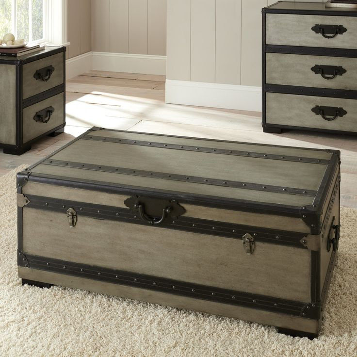 Steve Silver Rowan Rectangle Weathered Gray Trunk Coffee Table - Coffee Tables at Hayneedle