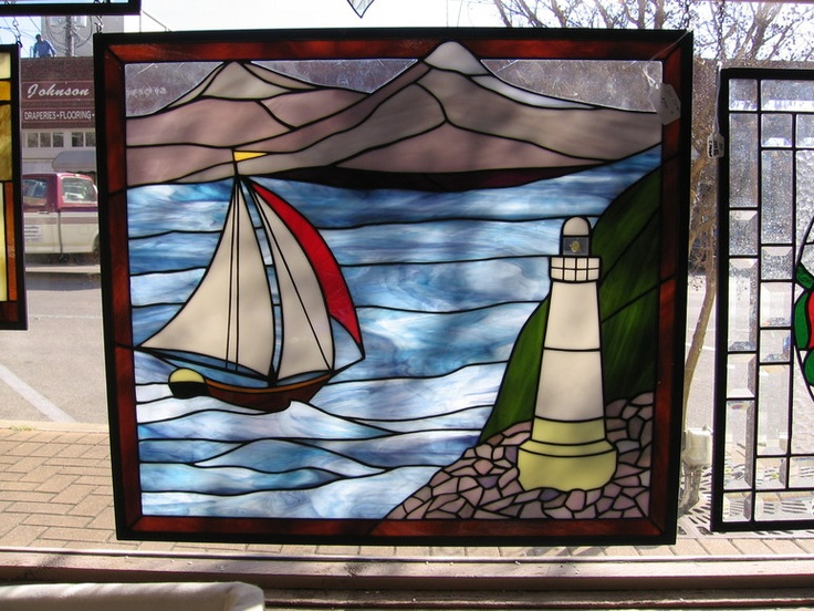 stained glass, Inspiration Glass Studio Georgetown, TX Store lighthouse and sailboat