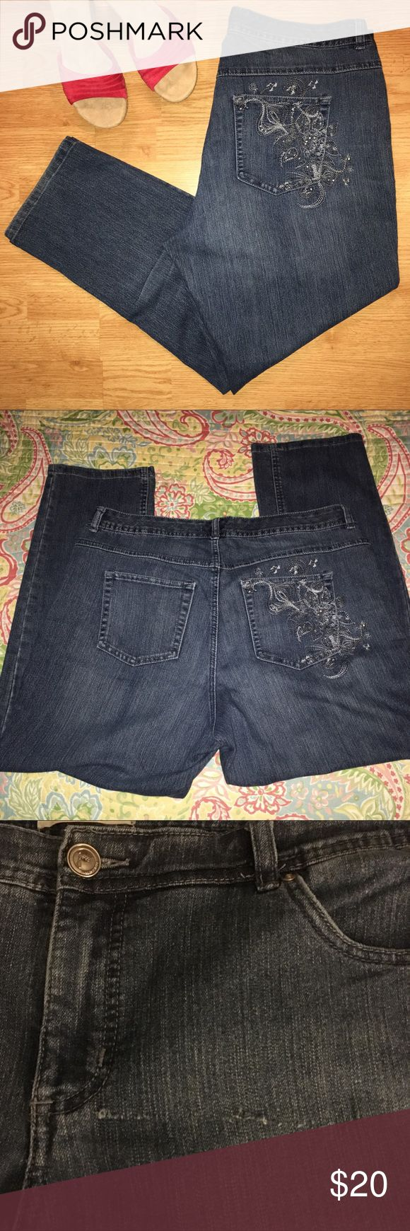 ➕ ❤️ JUST MY SIZE STRAIGHT LEG JEANS Just My Size stretch straight leg jeans. Cotton, polyester, spandex blend. Embellished front and back right pockets. See measurements in photos. One small flaw shown in photo 3. Smoke free. Bundle for additional savings. 🛍 Just My Size Jeans Straight Leg