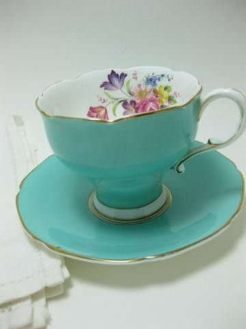 BARGAIN Vintage Paragon Fine Bone China Aqua and Floral Lovely Footed Teacup and Saucer