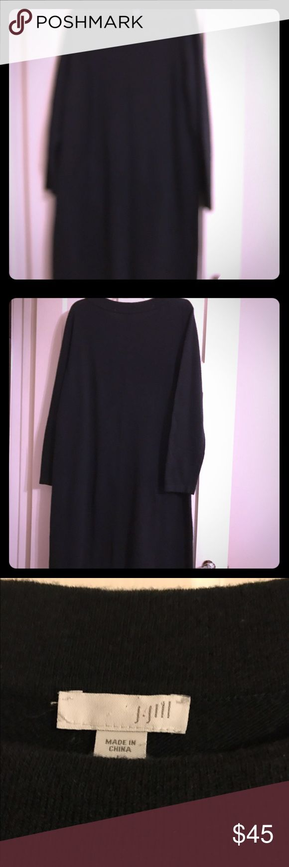 JJill black wool sweater dress. JJill black knee length long sleeve sweater dress with front slit pockets. Only worn a couple times. J. Jill Dresses Long Sleeve