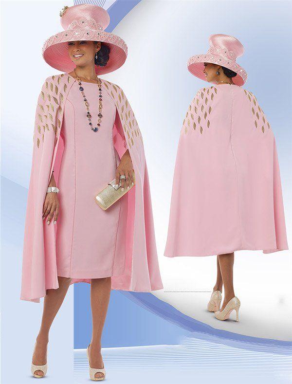 Donna Vinci 11519 Ladies Peach Skin Capelet Dress For Church