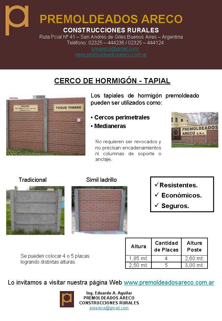 Cercos de hormigón premoldeado – Muro Tapial – Premoldeados – Areco