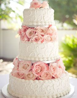 White cake layered with pink roses-Love!